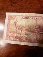 1969 Zambia 50 Ngwee Pick# 9b VF Rare Signature 3  + a Gift