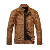 Men's Winter Warm Biker Motorcycle Jacket Stand Collar Jacket Slim Outwear Coat