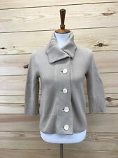 J Jill Sweater XS Petite Beige Ribbed Waist Cuff Collar Buttons 3/4 Sleeve B74