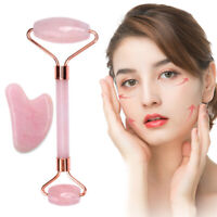 Ladies Natural Rose Quartz Facial Neck Body Jade Stone Roller Face Massagep New