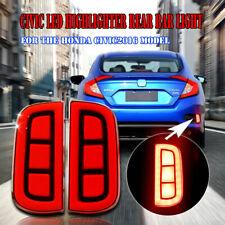 JDM Style Red LED Bumper Reflector Rear Marker Lights For 16-up Honda Civic 4DR