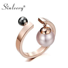 2 Colors Pearl Pendant Open Adjustable Statement Rings Women Fashion Jewelry
