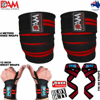 DAM 3in1 HEAVY DUTY KNEE WRIST BAR STRAPS WRAPS FOR POWERLIFTING/BODYBUILDING