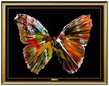 Damien Hirst Butterfly Acrylic Spin Painting Signed Original Modern Artwork SBO
