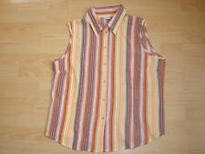 wNEU orange gestreiftes M&S Mode Damen Top Gr. 46 48 XL Bluse ohne Ärmel