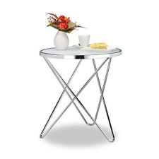 Relaxdays 10021285 Tavolino salotto metallo Argento 54x54x57 cm (l8c)