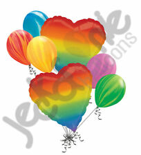 7 pc Rainbow Heart Balloon Bouquet Party Decoration Wedding Birthday Love