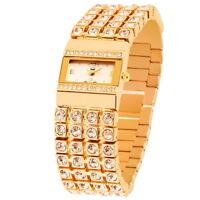 Fame Damenuhr Armbanduhr in Gold Weiß Farben und Armband mit edlem Strass