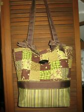 DONNA SHARP ~ Quilted 100% Cotton Handbag Purse Tote ~ GREEN / BROWN  w Bows