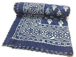 Vintage Indian patchwork Handmade Kantha Quilt Bedspread Twin Throw Decor