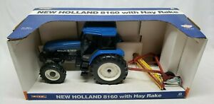New Holland 8160 Tractor With Hay Rake 1/16 Scale By Ertl Stock #3320 Rare!