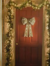 Christmas Decoration Giant Light Up Door Bow With 25 White LED Lights Display