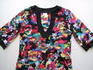 Anne Cole HIBISCUS Tunic Top Blouse L/XL Floral Beach Dress Swim Suit Cover Up