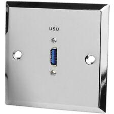 Dynavox USB 3.0 Port Edelstahl / Chrom Blende Anschlussdose für Unterputz Dose