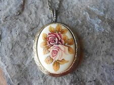 PINK, PEACH ROSES PORCELAIN CAMEO BRONZE LOCKET - QUALITY - UNIQUE