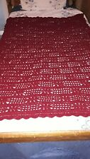 "Wine Colored Hand Crocheted Afghan Lace Pattern 56"" x 48"""