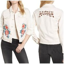 Mother The Bruiser Cropped Denim Jacket Woman Embroidery Distressed S New $345