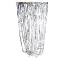 Argent plastique métallisé Fringe porte fenêtre Rideau Party Decoration