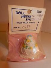 Vintage doll house furniture miniature WEDDING CAKE THREE TIER MIP PACKAGE MINT