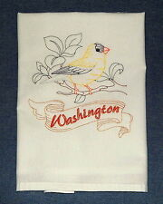 Willow Goldfinch The Washington State Bird Embroidered Flour Sack Towel