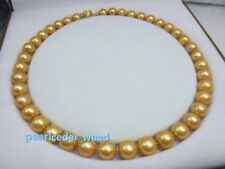 "golden 18"" AAA+ 11-12MM SOUTH SEA NATURAL PEARL NECKLACE 14K YELLOW GOLD CLASP"