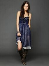 NWOT Free People Sequin Embellished Tulle Fairy Slip Dress Blue Silver $128 Rare