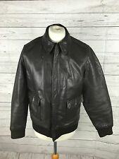 "Men's Retro Leather Bomber Jacket - Medium 42"" - Brown - Great Condition"