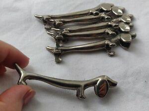 Vintage set of 6 x Chrome Plated Dachshund Dog Knife Rests