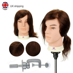 """12"""" 100% Real Human Hair Men's Male Hairdressing Training Head Mannequin Doll"""
