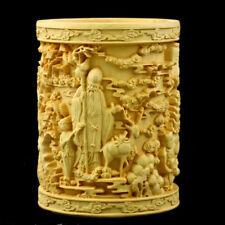 Chinese Boxwood Carved three gods of happiness&longevity&Prosperity Brush pot +a