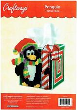 PENGUIN XMAS TISSUE BOX COVER  plastic canvas  7ct  KIT  (#958)