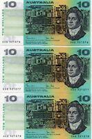 $10 Australian Notes1983 Johnston/Stone R308 aUNC CONS TRIO UAE 321076 -077-078