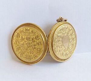 Antique Victorian 9ct Gold Ladies Double Photo Locket Pendant / Superb Piece