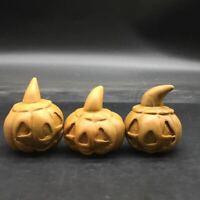 Natural Songhua Stone Quartz Crystal Carved Pumpkin Halloween Decoration Rock1Pc