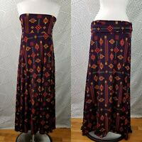 LuLaRoe Maxi Size XL Aztec Skirt Strapless Dress Aztec Southwest Print purple