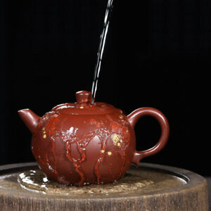 on sales real yixing zisha purple grit tea pot marked handmade carved floral pot