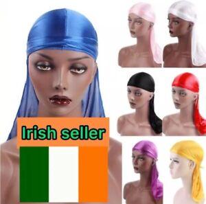 Unisex Men Women Bandana Durag Silk Pirate Hat Head Wrap Cover Cap Soft Headwear
