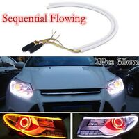 2Pcs 60cm LED Switchback DRL Strip Light Daytime Running Turn Signal Sequential