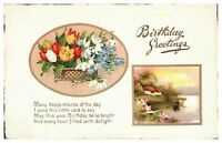 Antique colour printed postcard card Birthday Greetings flowers river scene