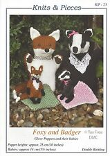 VAT Free KNITTING PATTERN ONLY To Make Foxy & Badger Glove Puppets Knits Pieces