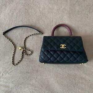 Chanel Caviar Lizard Quilted Medium Coco Handle Flap Black Burgundy Bag Handbag