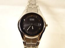Very Nice Ladies Citizen Eco-Drive Black Face Chrome Date Light Powered Watch