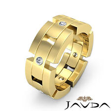 Round Diamond Ring 18k Yellow Gold 0.35Ct 8.5mm Men Block Link Huge Wedding Band