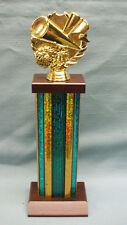 Cheerleading pon trophy award teal column cherry finish wood base