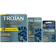 Trojan Bareskin Thinnest Premium Lubricated Latex Condoms - Choose Quantity