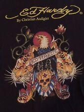 Ed Hardy Designs Eagle Tiger Skull Womens T Shirt Sz M - Black