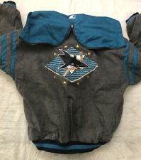 90s Vtg  NHL San Jose Sharks Starter Jacket Coat Mens XL Jacket Gray Logo RARE