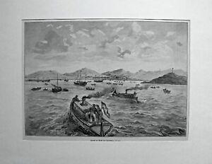 China, Kiautschou-Bucht - Ansicht vom Meer aus - Dekorativer Holzstich 1898