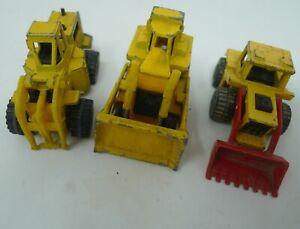 Lot 3 VTG 1979 Hot Wheels Workhorse Yellow CAT Bulldozer 1976 Lesney Matchbox