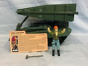 GI Joe 1984 Bridge Layer Complete With Driver Toll Booth File Card